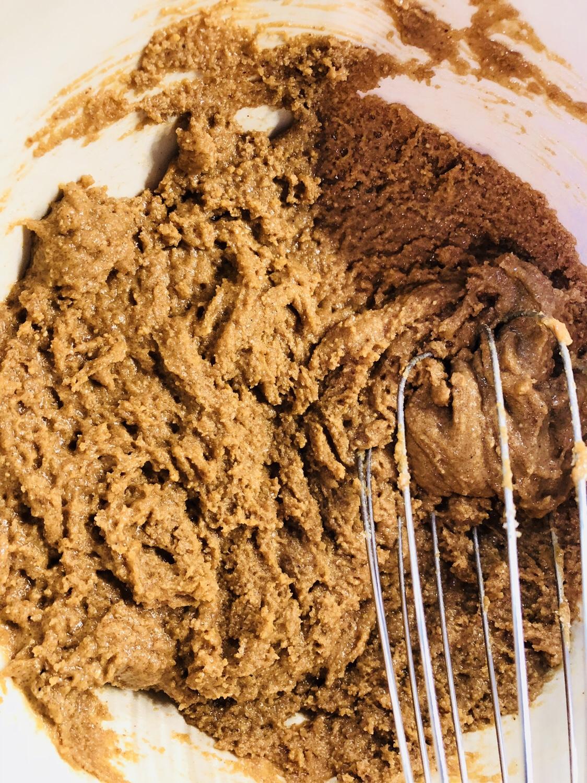 Mixing peanut butter mixture