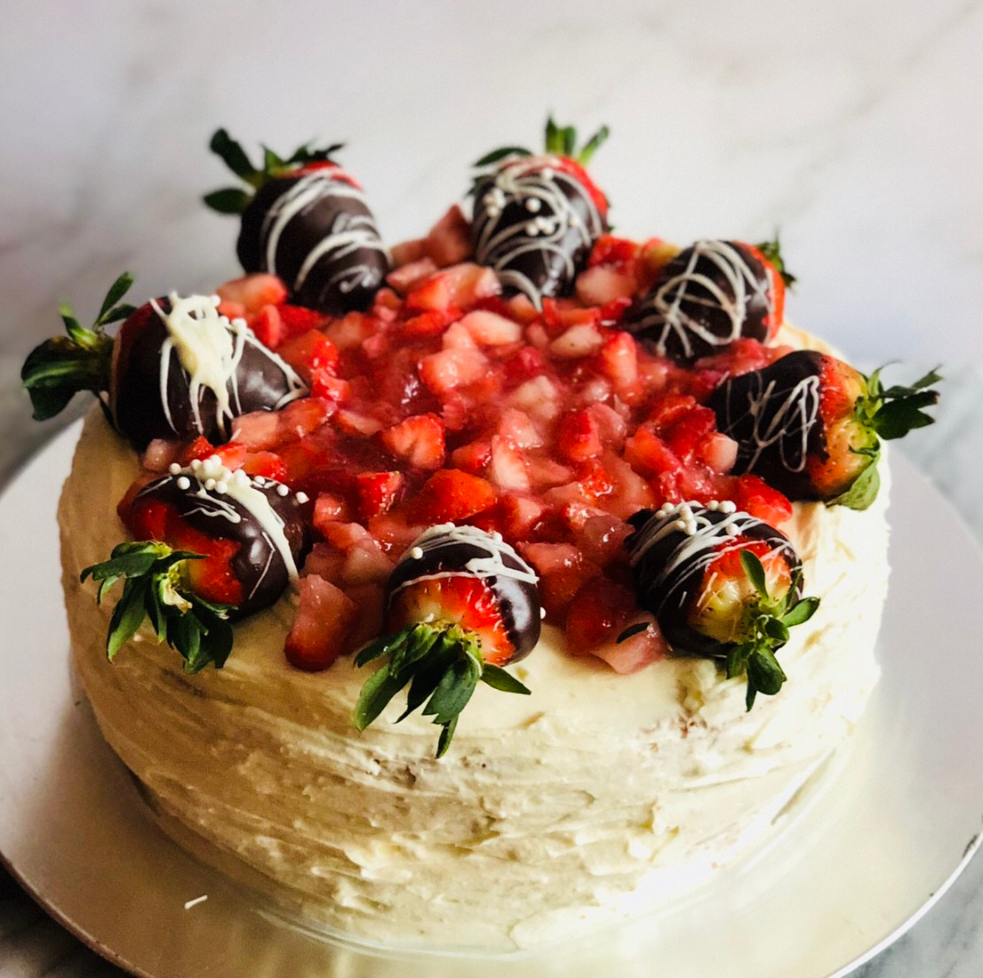 Strawberries & Cream Layer Cake with Chocolate Covered Strawberries