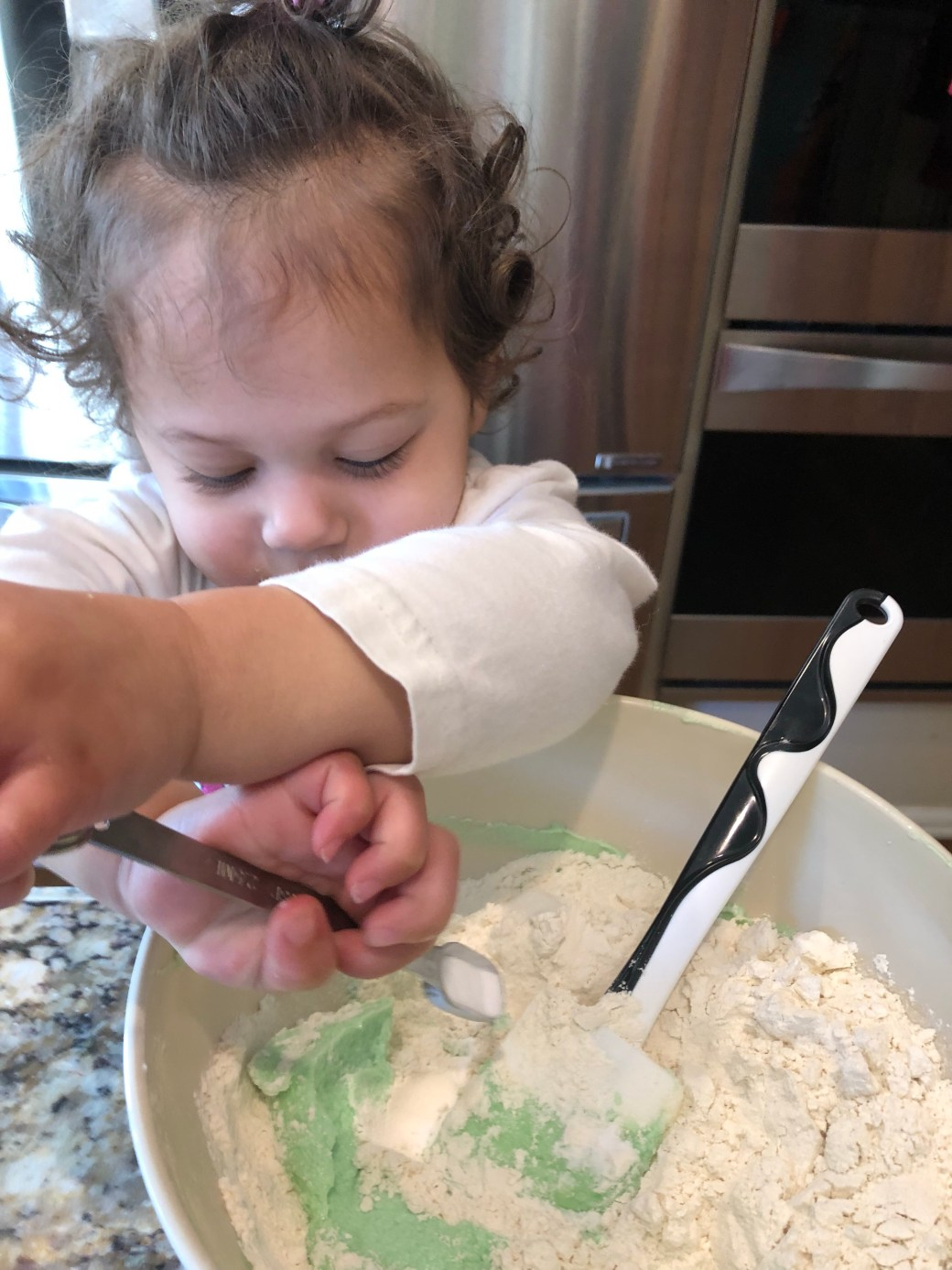 Add dry ingredients to cookie dough