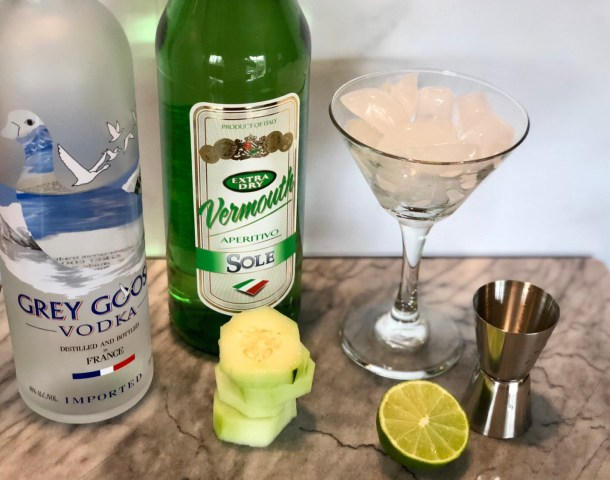 ingredients for a cucumber lime martini