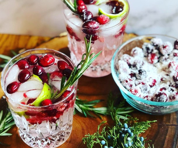 holiday gin cocktail