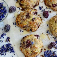 Blackberry Lavender Scruffins With Honey Glaze