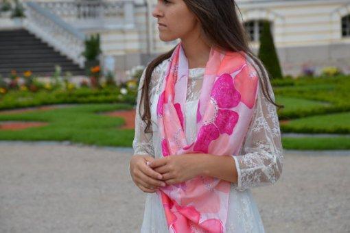 Pink Floral Scarf