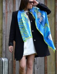 Blue Flapper Girl Silk Scarf