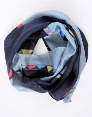 Abstract Grey Black Silk Scarf