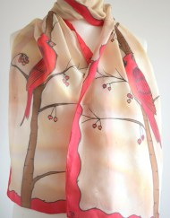 Red Cardinal Bird silk Scarf