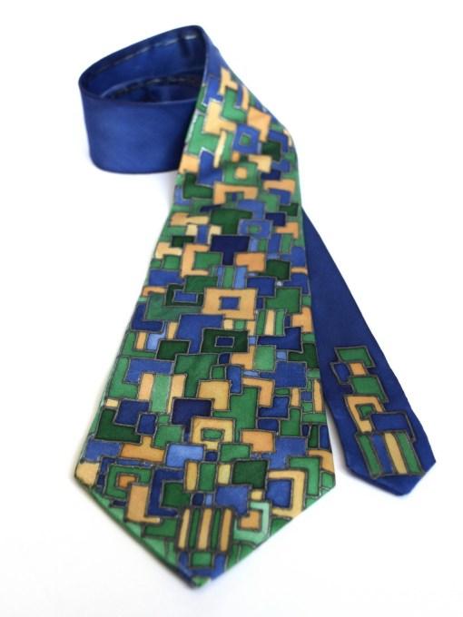 Blue Green Squares silk Tie