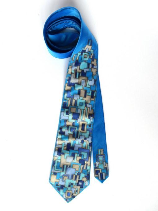 Blue Squares silk Tie