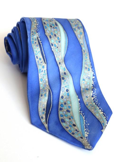 Blue Waves silk Tie