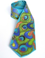 Emerald Peacock Feathers silk Tie