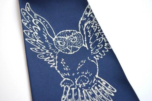 Snowy Owl Blue Tie
