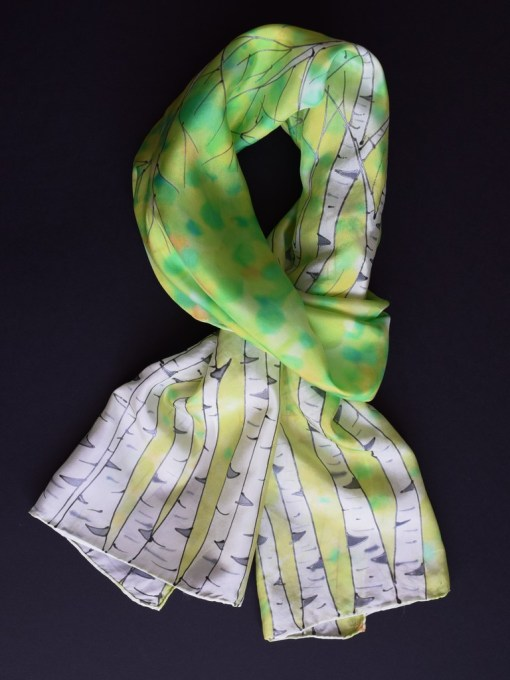 Green Birch silk Scarf