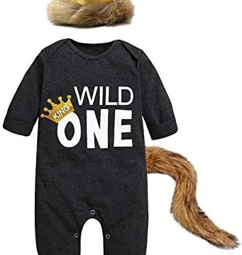 Baby Boys Girls First Birthday Romper Where The Wild Things are Outfit with Tail and Crown