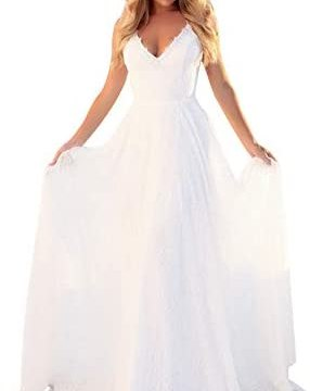 OSMall Wedding Dress for Women Floral Lace Bandage Backless Formal Prom Party Bridesmaid Dress