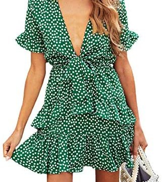 Phicia Women's V Neck Short Sleeve Floral Dress Bow Tie Front Ruffle Casual Mini Dresses