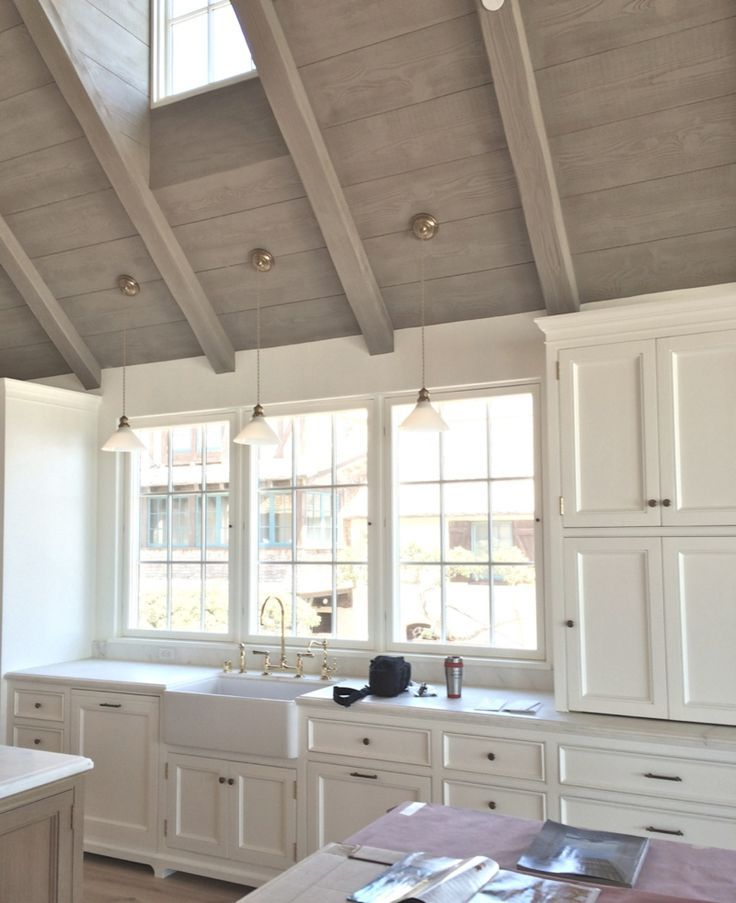 Image result for wood cathedral ceiling kitchen livingroom love the color