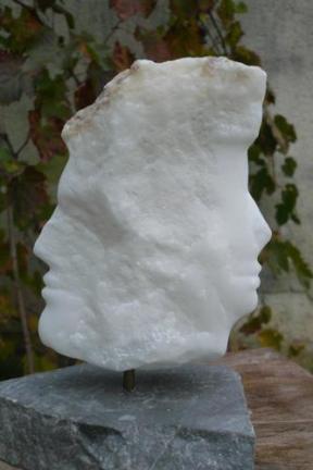 Le rêve de Janus - sculpture mythologique - profil - visage