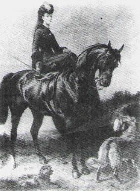 Den ärade Mary Marjoribanks, Lord Tweedmouths dotter, med antingen Cowslip eller Primrose, av första generationen Yellow Retriever.
