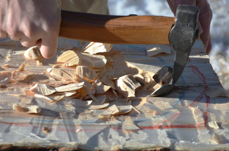 The adze is a curved blade, used for quickly hollowing out the bowl.