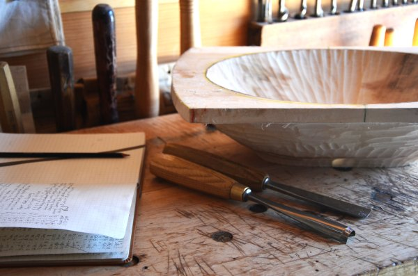 Hand-carved bowl in progress, with gouges.