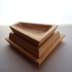 Set of three modern, stackable, geometric bowls, hand-carved with traditional gouge-work at RivenJoiner.com.