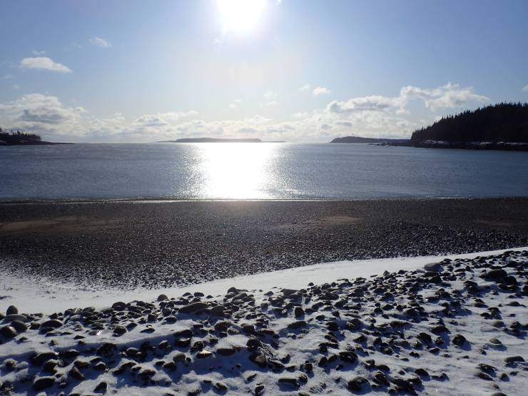 Sun, snow, and deep blue sea - it's all in a day at the winter beach, Jasper Beach, Machiasport, ME!
