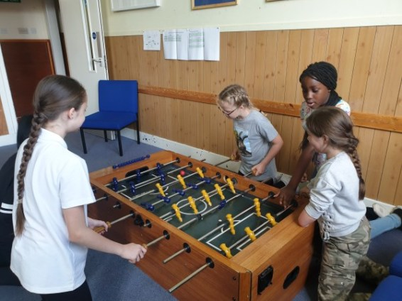 Nothing like a game of table football at the end of a long, tiring day.