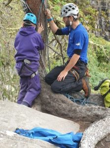 Getting ready for abseiling.