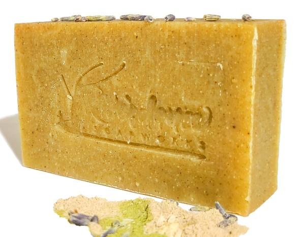 side image of dry skin care goat milk soap