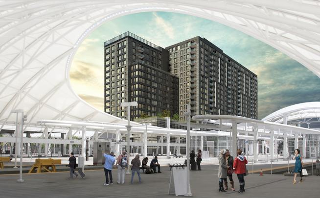 Rendering of The Coloradan, a 19-story, 342-unit condominium tower proposed for 1750 Wewatta St. in the Union Station neighborhood. (Rendering provided by East West Partners and Amstar Advisors)