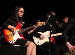 """Riverhead Middle School jazz band performed """"Afro Blue"""" and """"Uptown Funk"""" under the direction of Crystal Crespo. <em>Photo: Katie Blasl</em>"""