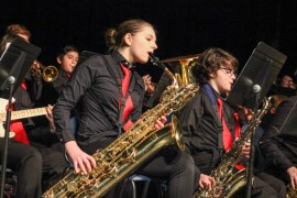 "Riverhead Middle School jazz band performed ""Afro Blue"" and ""Uptown Funk"" under the direction of Crystal Crespo. <em>Photo: Katie Blasl</em>"