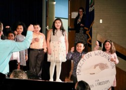 "Roanoke Avenue Elementary School third-graders perform ""If I Had a Hammer."""