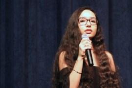 "Riverhead High School vocalist Natalia Rahim performs ""Hero."""