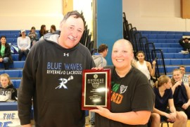 Jessica Rourke, who had a career 124 three-point field goals, a Riverhead record from 2004 to 2018, with Coach Jim Janacek. Photo: Denise Civiletti