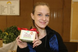 Elizabeth Katz, owner of Terra Nut, with their signature product, Nut Punch.