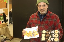 Joe Bruno co-owner of Vienna Cookie Company in Baldwin, with his wife, baker Heidi Riegler.
