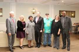 Riverhead Town Justice Allen Smith, left, Lisa Dabrowski, the Rev. Mary Cooper, Rep. Lee Zeldin, Kiwanian of the Year Harry Wilkinson, Riverhead Central School District trustee Laurie Collins Downs and Highway Superintendent George Woodson