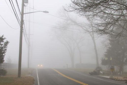 Areas of locally dense fog will make for reduced visibility this morning. (RiverheadLOCAL file photo: Peter Blasl)