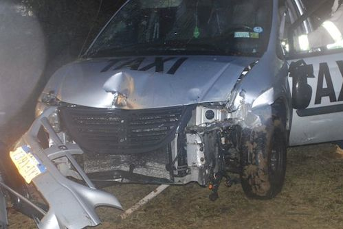 852e0826ae Taxi crashes through front yard of Main Road home early Sunday morning
