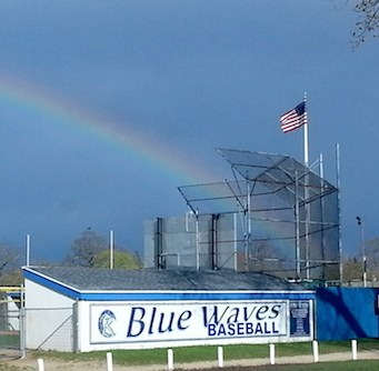 Rainbow over Riverhead last week. (Photo by