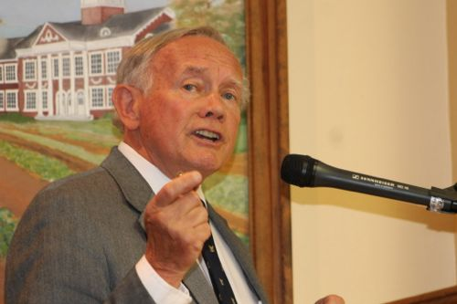 Former congressman George Hochbrueckner, hired by the town last year as a lobbyist for the development of EPCAL, roundly criticized the town's plans at hearings before the town board and planning board this week. (Photos: Denise Civiletti)