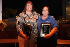 (L-R) Stacey Butterfield, Riverhead Teacher of the Year and Cindy Hynds Staff Member of the Year. Michael Butler not pictured. Courtesy photo