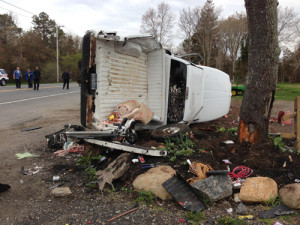 PAUL SQUIRE PHOTO   The wreckage of a pickup truck that was struck in a multi-car accident in Calverton Monday morning.