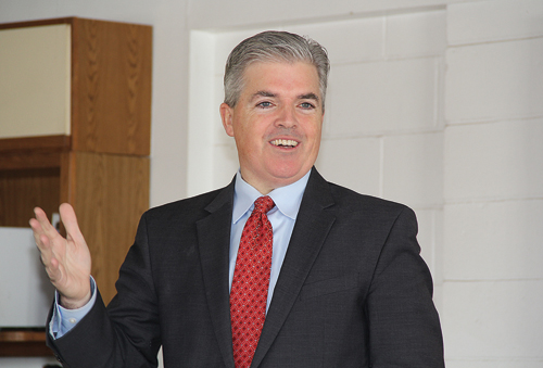 Steve Bellone speaking with area farmers last Wednesday in Calverton. (Credit: Carrie Miller)