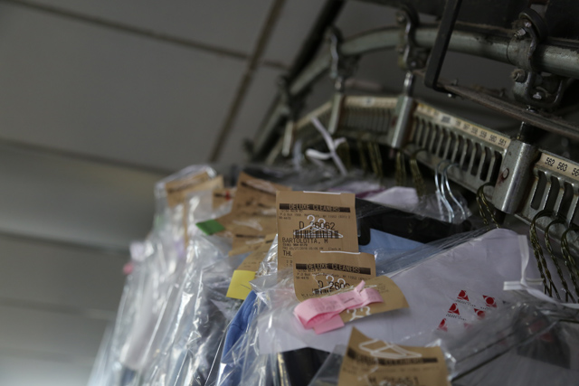 Orders awaiting pick up at Deluxe Dry Cleaners in Mattituck. (Credit: Paul Squire)