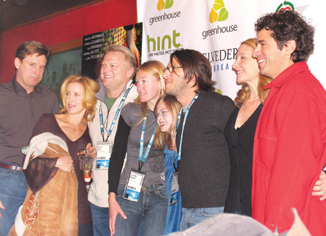 FILE PHOTO COURTESY OF SILVERWOOD FILMS | The cast and producers of 'Phoebe in Wonderland' gathered at a premiere party at the Sundance Film Festival in Utah in 2008. Left to right: Bill Pullman, Felicity Huffman, Doug Dey and Lynette Howell of Silverwood Films, Elle Fanning, co-producer Ben Barnz, Patricia Clarkson, and writer/director Daniel Barnz. 1/30/2008