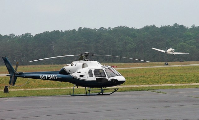 A helicopter at East Hampton Airport last year. (Credit: Kyril Bromley/The East Hampton Press)