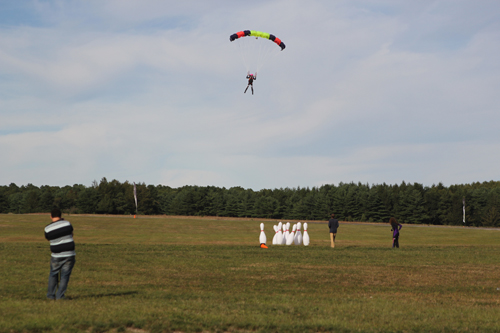 JENNIFER GUSTAVSON PHOTO | Skydive Long Island and All-Star bowling sponsored Sunday's human bowling ball event to benefit Brendan House.
