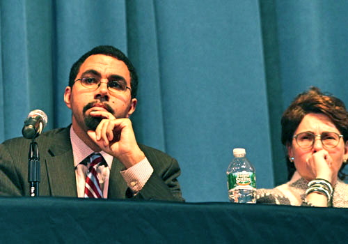 CARRIE MILLER FILE PHOTO | Education commissioner John King and state Board of Regents Meryl Tisch listening to a parade of speakers at a public forum in November.